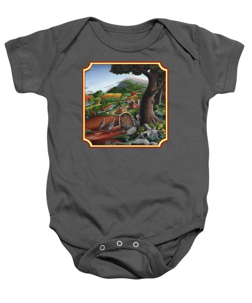 Wild Turkeys In The Hills Country Landscape - Square Format Baby Onesie by Walt Curlee