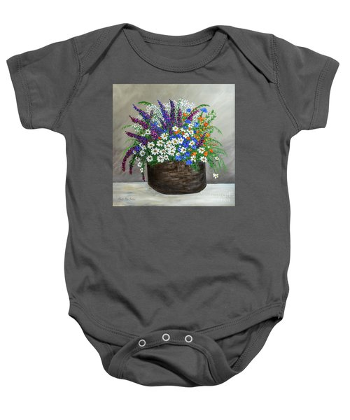Wildflower Basket Acrylic Painting A61318 Baby Onesie