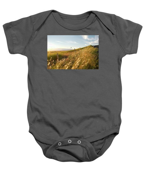 Windmill And The Fence Sundown Baby Onesie