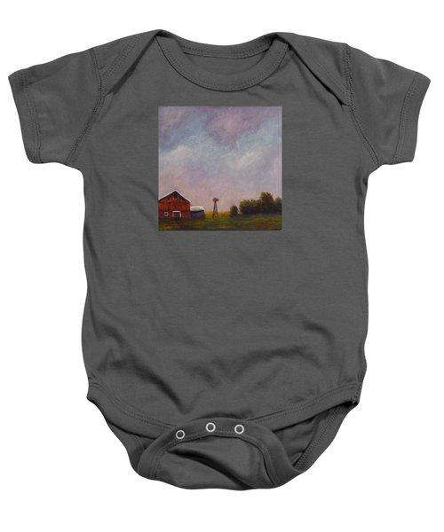 Windmill Farm Under A Stormy Sky. Baby Onesie