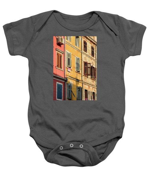Windows Of Rovinj, Istria, Croatia Baby Onesie