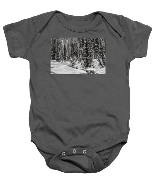 Winter Alpine Creek II Baby Onesie
