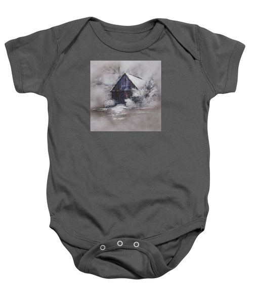Winter Cottage Baby Onesie