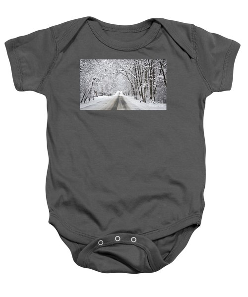 Winter Drive On Highway A Baby Onesie