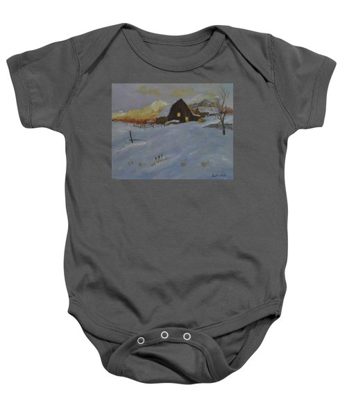 Winter Dusk On The Farm Baby Onesie