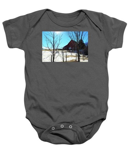 Winter Farm House Baby Onesie
