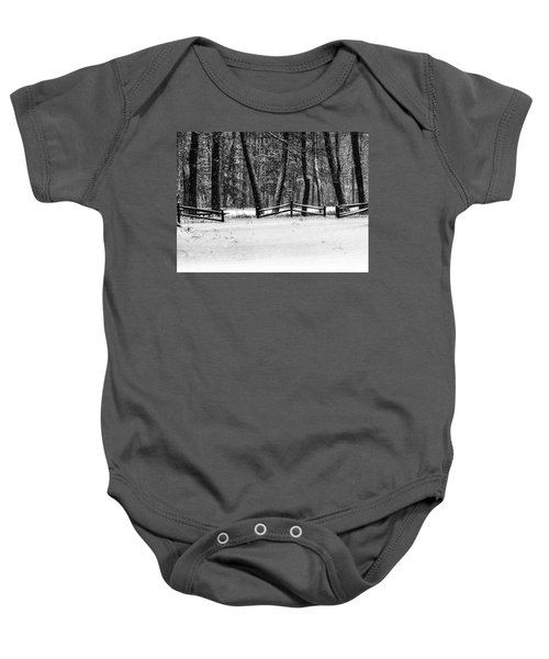 Winter Fences In Black And White  Baby Onesie
