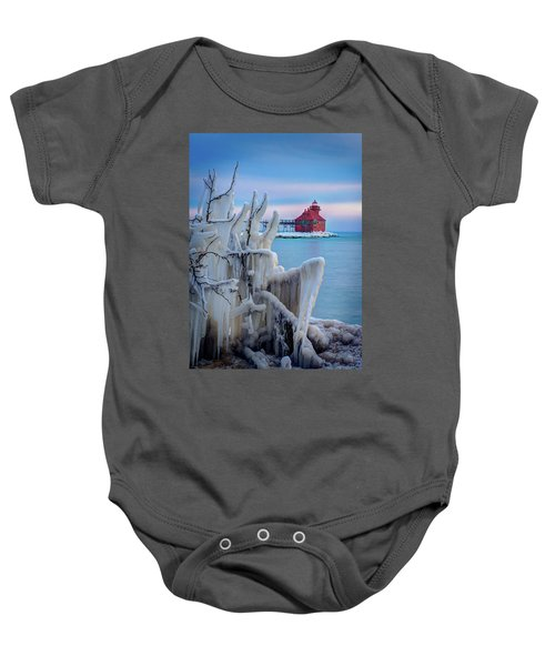 Winter Lighthouse Baby Onesie