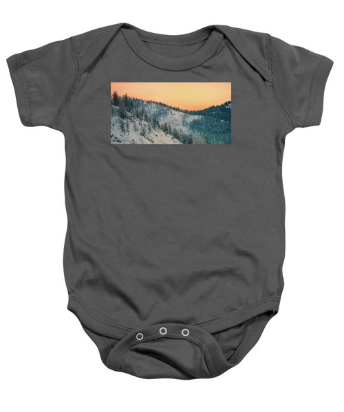 Winter Mountainscape  Baby Onesie