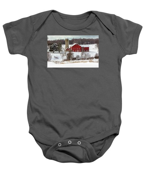 Winter On A Farm Baby Onesie