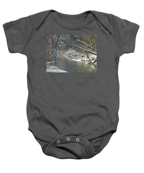 Winter On The Stream Baby Onesie