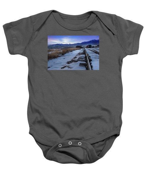 Winter Tracks Baby Onesie