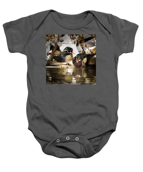 Winter Visitors - Wood Ducks Baby Onesie