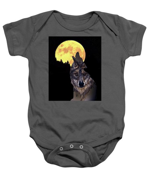 Wolf Howling At The Moon Baby Onesie
