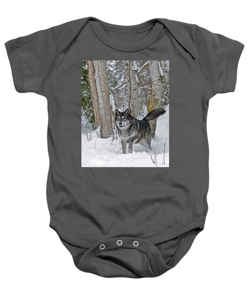 Wolf In Trees Baby Onesie