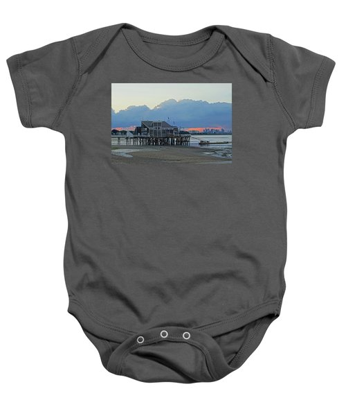 Wollaston Beach Quincy Ma Sunset Boston Skyline Quincy Ma Baby Onesie