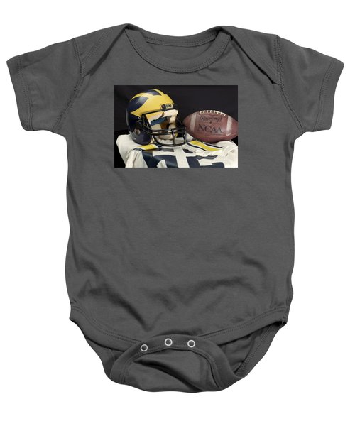 Wolverine Helmet With Jersey And Football Baby Onesie