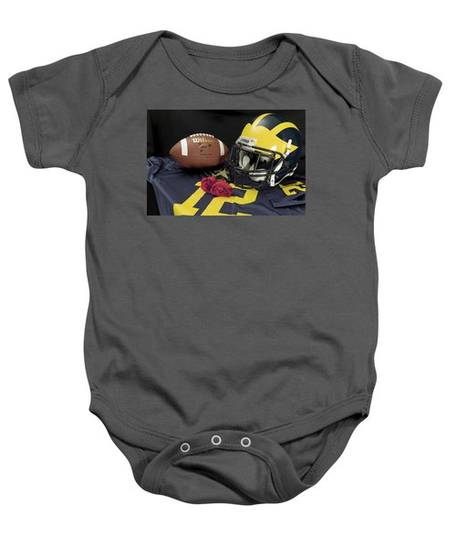 Wolverine Helmet With Roses, Jersey, And Football Baby Onesie