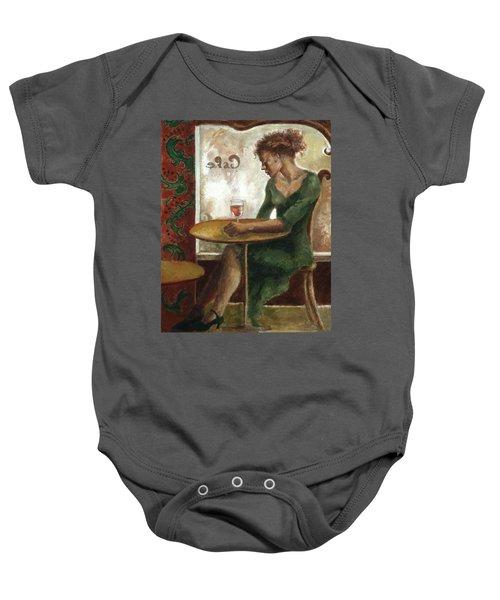 Woman In A Paris Cafe Baby Onesie