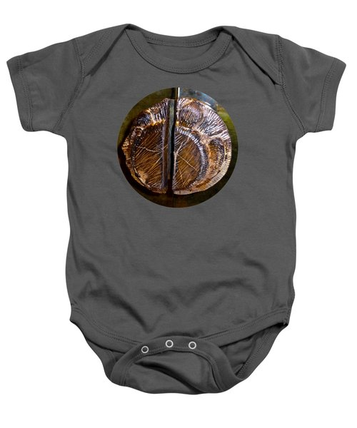 Baby Onesie featuring the photograph Wood Carved Fossil by Francesca Mackenney