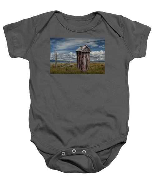 Wood Outhouse Out West Baby Onesie