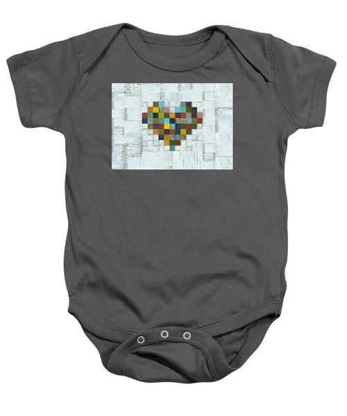 Baby Onesie featuring the digital art Wooden Heart 2.0 by Michelle Calkins