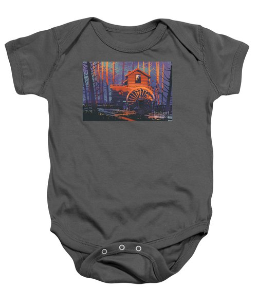 Baby Onesie featuring the painting Wooden House by Tithi Luadthong