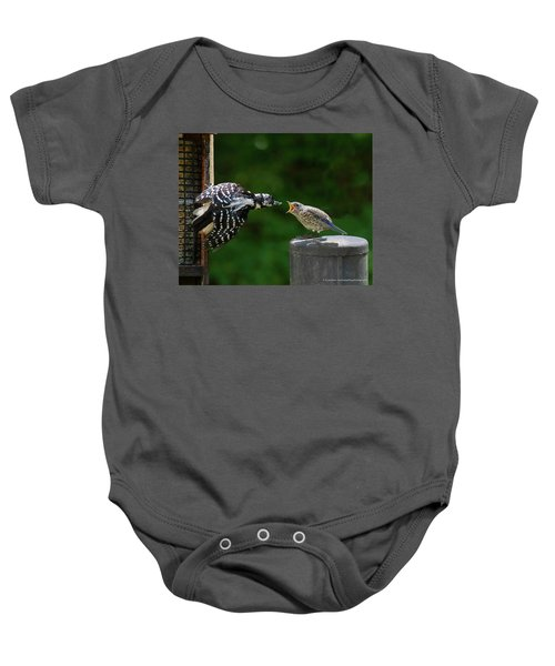 Woodpecker Feeding Bluebird Baby Onesie