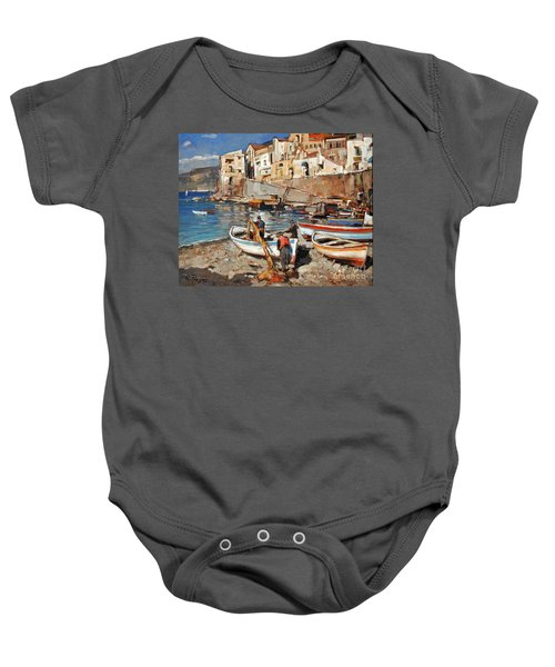 Work Never Ends For Amalfi Fishermen Baby Onesie