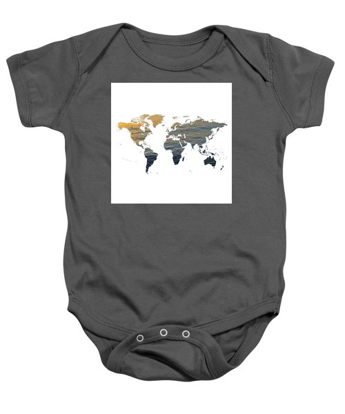 World Map - Ocean Texture Baby Onesie
