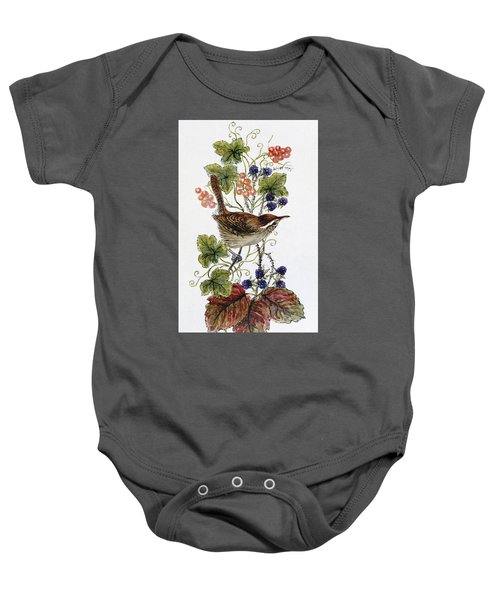 Wren On A Spray Of Berries Baby Onesie by Nell Hill
