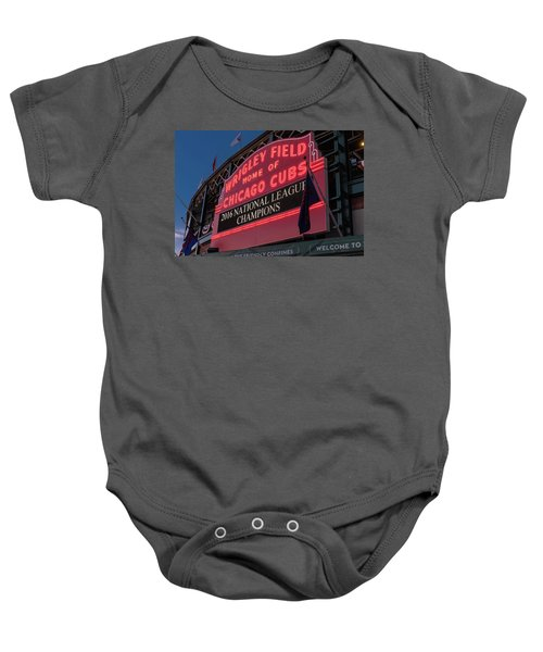 Wrigley Field Marquee Cubs National League Champs 2016 Baby Onesie by Steve Gadomski
