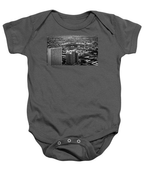 Wrigley Field Park Place Towers Day Bw Dsc4575 Baby Onesie by Raymond Kunst