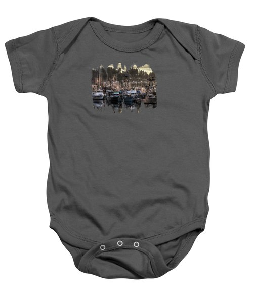 Yaquina Bay Boat Basin At Dawn Baby Onesie