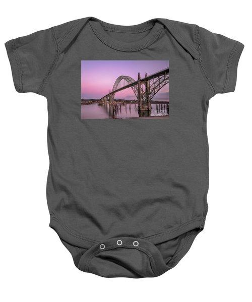 Yaquina Bay Bridge In Blue Light Baby Onesie