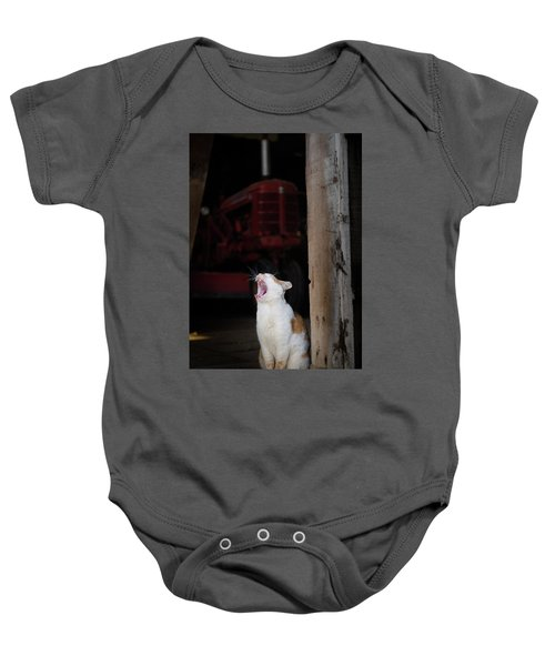 Yawning Barn Cat And Tractor Baby Onesie