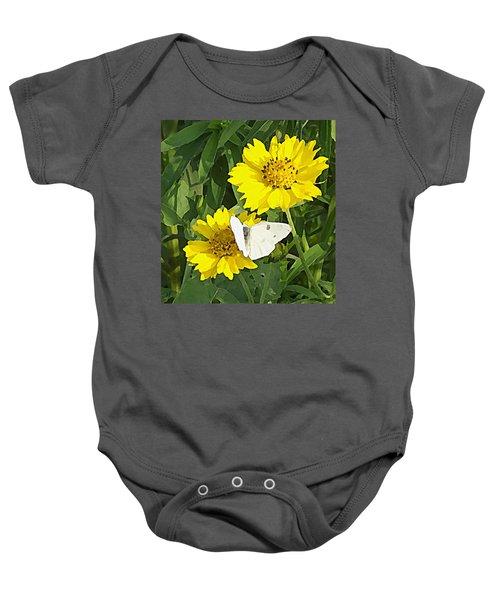 Yellow Cow Pen Daisies Baby Onesie