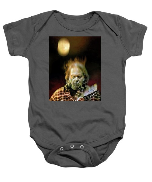 Yellow Moon On The Rise Baby Onesie by Mal Bray