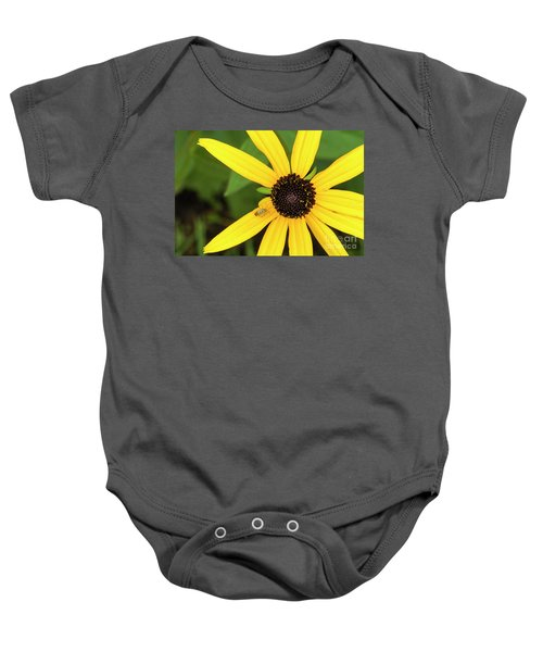 Yellow Petaled Flower With Bug Baby Onesie