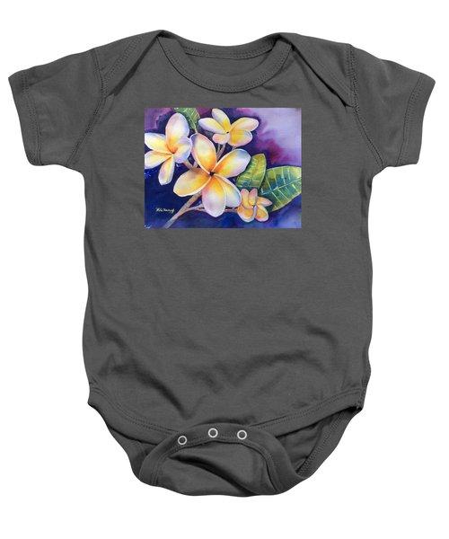 Yellow Plumeria Flowers Baby Onesie