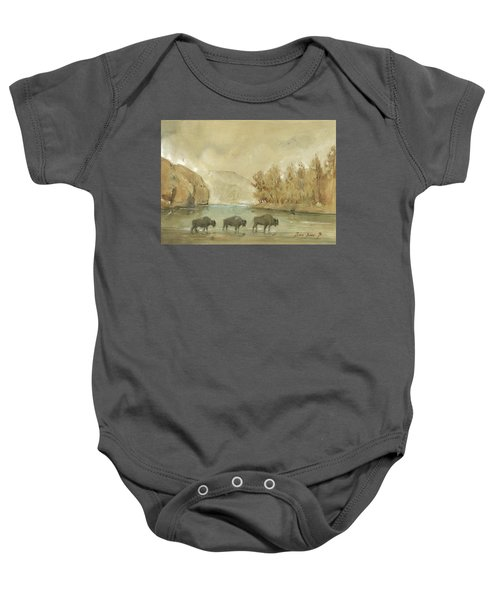 Yellowstone And Bisons Baby Onesie by Juan Bosco