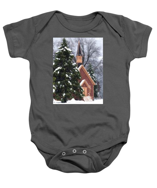 Baby Onesie featuring the photograph Yosemite Valley Chapel  by Vincent Bonafede