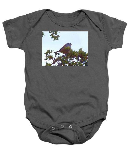 White Crowned Sparrow In Cedar Baby Onesie