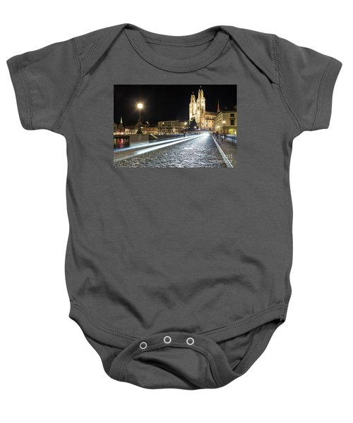 Zurich Night Rush In Old Town Baby Onesie