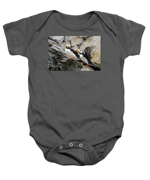 Horned Puffin Pair 2 Baby Onesie