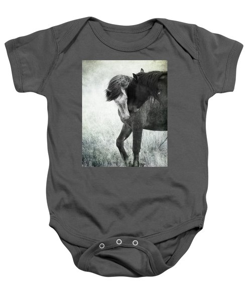 Baby Onesie featuring the photograph Intimacy Before Battle by Mary Hone