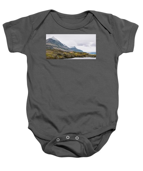 High Icelandic Or Scottish Mountain Landscape With High Peaks And Dramatic Colors Baby Onesie