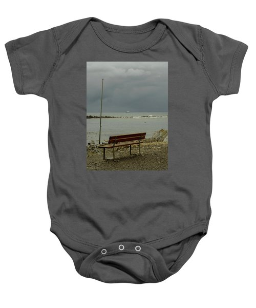 A Bench On Which To Expect, By The Sea Baby Onesie