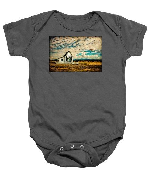A Lone Prairie Church Baby Onesie