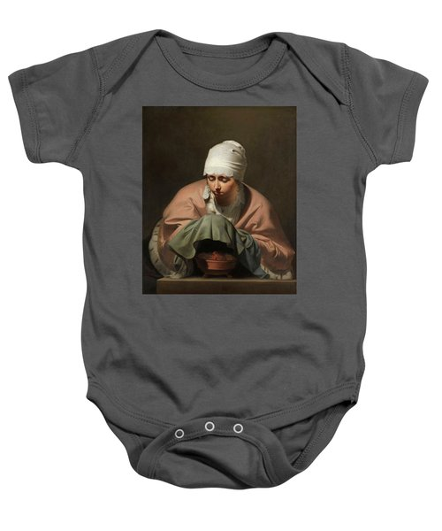 A Young Woman Warming Her Hands Over A Brazier Allegory Of Winter Baby Onesie